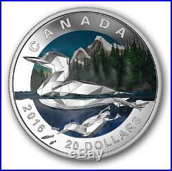 Geometry Art The Loon $20 2016 1OZ Pure Silver Proof Canada Colour Coin