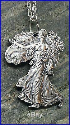 Hand Cut Lady Liberty American. 999 Silver Eagle Pendant