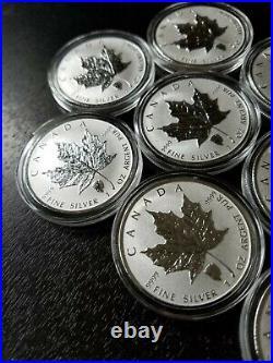 LOT (10) 2018 1oz Canadian Maple Leaf Bison Reverse Privy. 9999 $5 Silver Coins