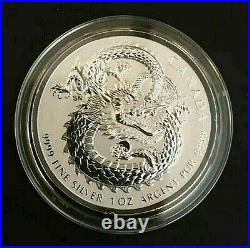 LUCKY DRAGON High Relief 2017 Royal Canadian Mint 1 oz Silver Coin in Capsule