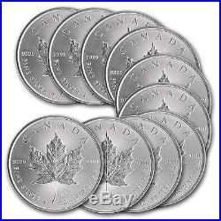 Lot de 10 pieces argent Maple Leaf du Canada 5 dollars 1 oz silver coins