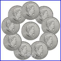 Lot of 10 2018 Canada 1 oz Silver Maple Leaf $5 Coins GEM BU Coins SKU49795