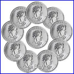Lot of 10 -2018 Canada 1 oz Silver Maple Leaf Incuse $5 GEM BU Coins SKU52129