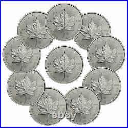 Lot of 10 2021 Canada 1 oz Silver Maple Leaf $5 Coins GEM BU