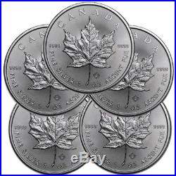 Lot of 5 2018 1 oz Canadian. 9999 Silver Maple Leaf $5 Coins SKU# 399399