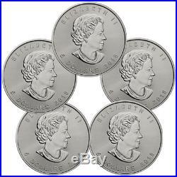 Lot of 5 2018 Canada 1 oz Silver Maple Leaf $5 Coins GEM BU Coins SKU49794