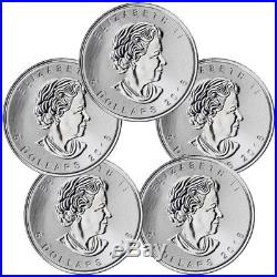 Lot of 5 -2018 Canada 1 oz Silver Maple Leaf Incuse $5 Coins BU PRESALE SKU52128
