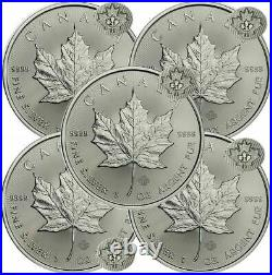 Lot of 5 2021 1 oz Canadian. 9999 Silver Maple Leaf Coins BU IN STOCK