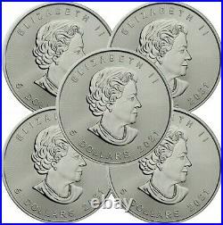 Lot of 5, 2021 1oz Canada Maple Leaf. 9999 Silver Coin, (Brilliant)