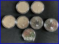 Lot of 7 2013-2016 Canadian Maple Leaf Silver 1 oz. 999 Coins