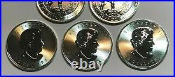 Lot of FIVE 2015 3/4 oz. 9999 Fine Silver $2 Canadian Silver Grey Wolf Coins BU