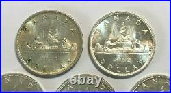 Lot of FIVE 80% Silver Canadian Silver Dollars, 0.600 ASW each coin, 3.0oz ASW
