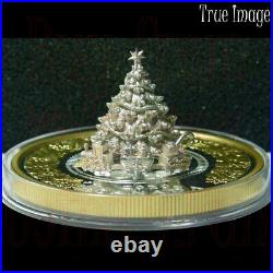 Low COA #0005 2020 Moving Christmas Train $50 Pure Silver Proof Gold-Plated Coin