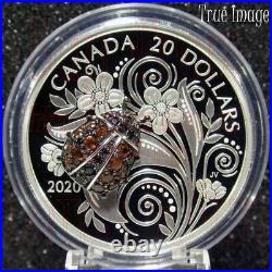 Low COA (L) 2020 Bejeweled Bugs #3 Ladybug $20 Pure Silver Proof Coin Canada