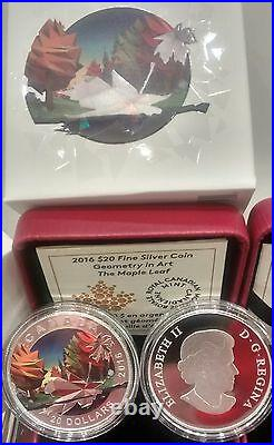 Maple Leaf $20 2016 1oz Pure Silver Proof Coin Geometry Art Canada
