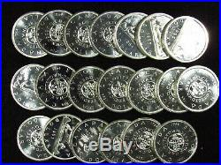 Mixed Date Canadian Silver Dollars BU/PL 20 COIN FULL ROLL 80% SILVER