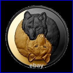 New Canada $20 Coin Silver Rhodium & Gold Plated 1 Oz GREY WOLF, 2021