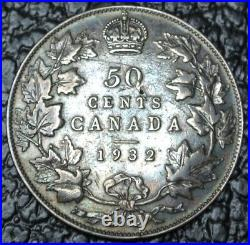 OLD CANADIAN COIN 1932 50 CENTS. 800 SILVER George V TONED KEY DATE