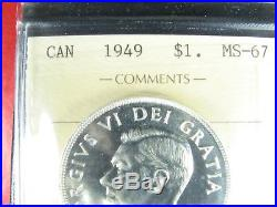 One dollar 1949 Canada ICCS MS-67 King George VI large silver coin 1$ $1 1d
