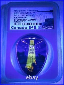PF70 Falcon Lake UFO Incident (2018) 1oz Silver Coin, Canada, with Blacklight