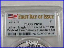 Pcgs 2019 Canada & U. S. Le Pride Two Nations Set Silver Eagle & Maple Leaf Pr70