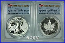 Pcgs Pr69 Fdoi 2019 Rev Pf Silver Eagle & Canada Maple Pride Of Two Nations Set