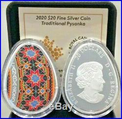 Pysanka 1 Oz Pure Silver Coloured Coin 2020 (Brand New)
