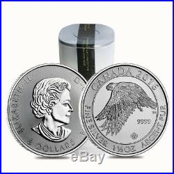 Roll Of 15 2016 1.5 Oz Canadian Silver White Falcon $8 Coin Fine Bu