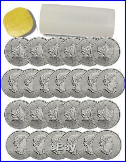 Roll of 25 2015 Canada 1 oz. 9999 Silver Maple Leaf $5 BU Coins SKU33764