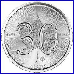 Roll of 25 2018 Canada 1 oz Silver Maple Leaf 30th Anniv. $5 Coins BU SKU52821