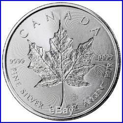Roll of 25 2018 Canada 1 oz Silver Maple Leaf Incuse $5 BU Coins SKU52130