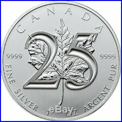 Silver (10) Coins Maple Leaf 25th Anniversary 2013 99.99% Pure RARE FREE GIFT