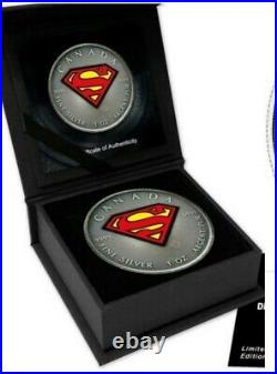 Silver Superman Coin 91/100 Limited Maple Leaf 5$ Certificated incl. In Ovp