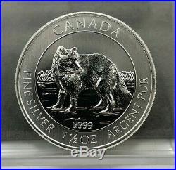 (Tube of 15) 2014 $8 Canada 1.5 oz Artic Fox. 9999 Fine Silver BU Coin 1 1/2oz