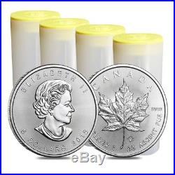 Tube of 25 x 2018 Canadian 1 oz maple leaf 999.9 Silver Bullion Coin