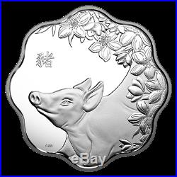 Year Of The Pig 2019 $15 Fine Silver Lotus Coin Royal Canadian Mint Rcm Canada